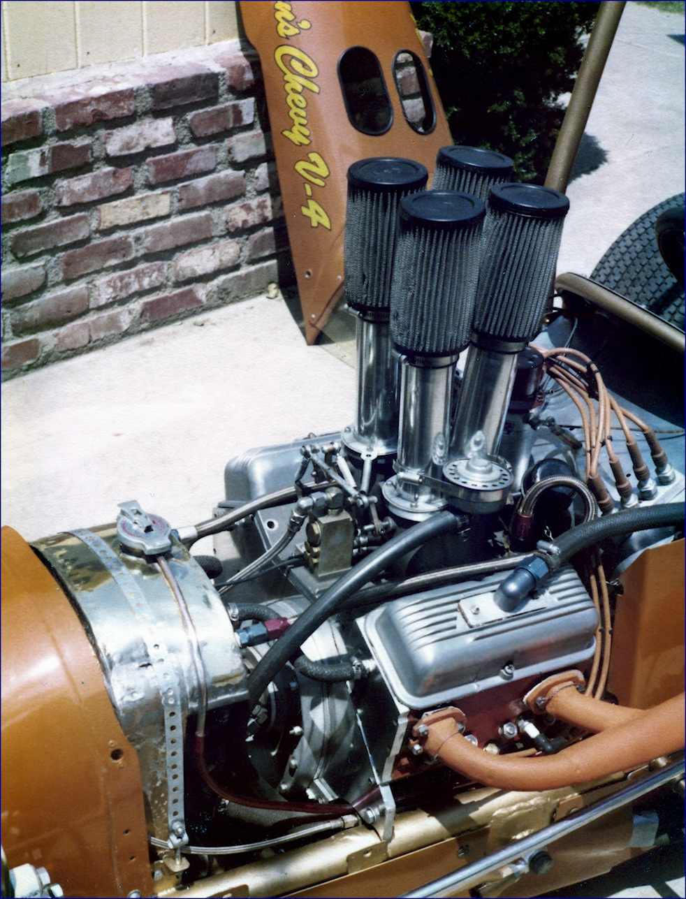 Jim Watson photo of the front end and engine of his Chevy V-4 Midget Race Car