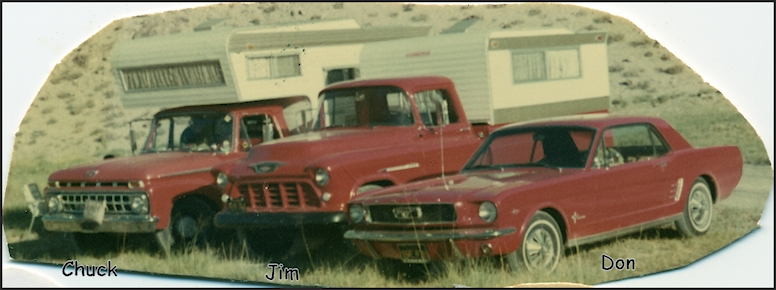 Chuck, Jim & Dons cars in 1965, all red lol