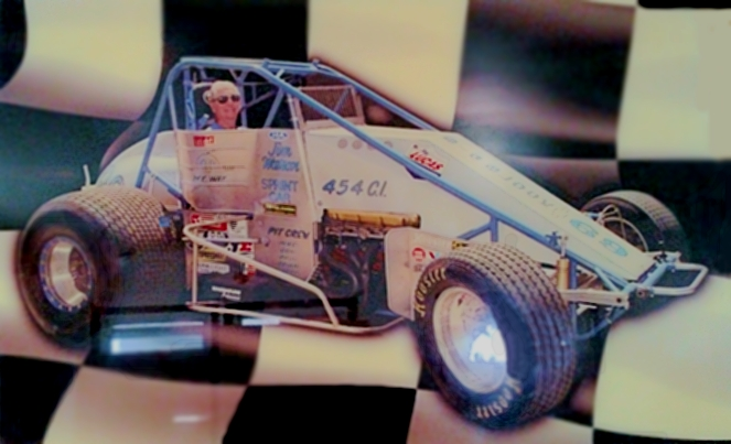 Jim Watson and #69 Sprint Car Checkered Flag