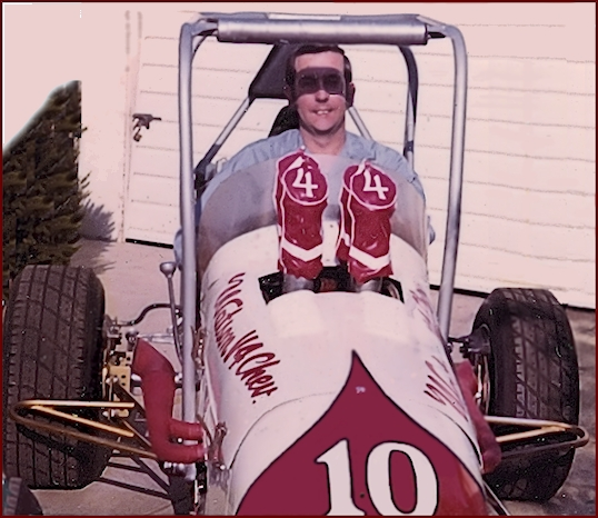 Jim Watson Chevy V-4 Midget race car parked in his driveway.