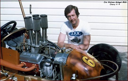 Jim Watson posing with his Chevy V-4 Midget race car.