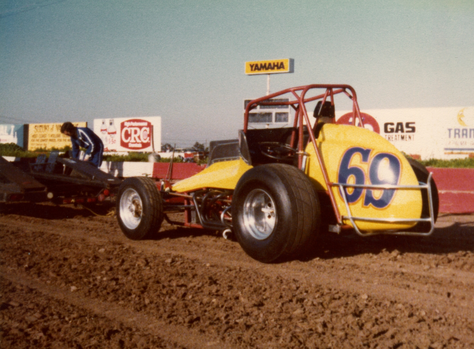Jim Watson Sprint Car being taken off trailer. circa 1980/90's