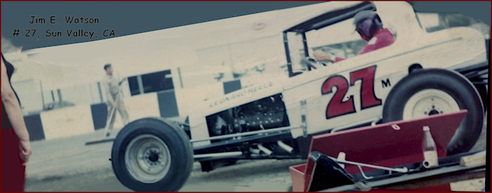 Jim Watson of Sun Valley Ca. #27m, Super Modified Race Car, Late 60's, early 70's. Whiteman Raceway in Pacoima.
