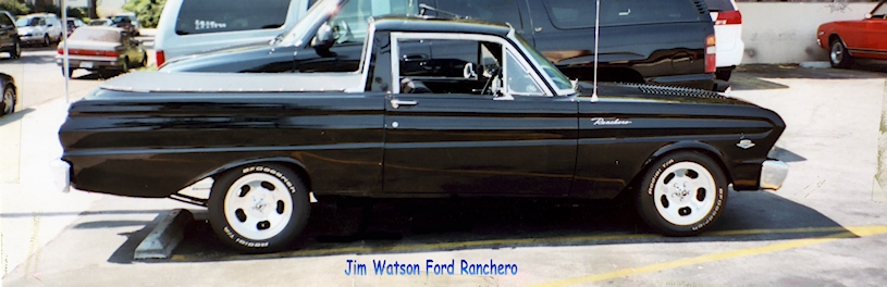 Jim Watson custom Ford Ranchero in a parking lot.
