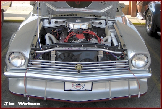 Jim Watsons Silver Ford Pinto small block V-8 engine compartment at Bob's Big Boy in Toluca Lake