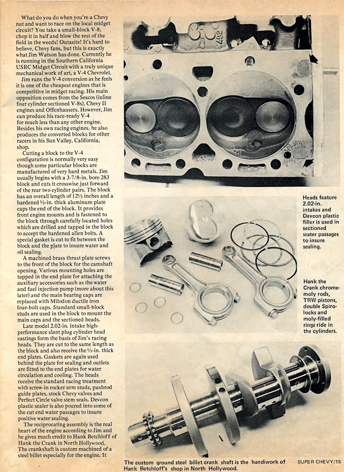 Fourth page of Super Chevy magazine article on Jim's V-4